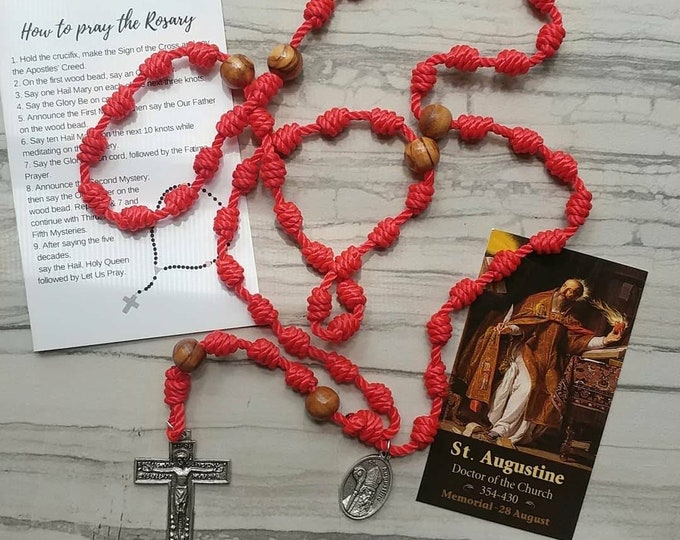 St. Augustine Twine Knotted Rosary with medal and prayer card
