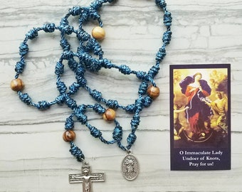 Our Lady Undoer of Knots Twine Knotted Rosary with renaissance crucifix, medal, and prayer card