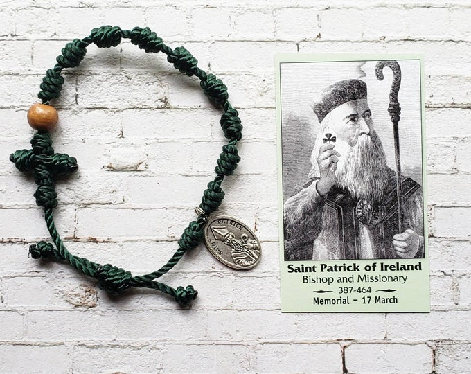 Saint Patrick of Ireland Twine Knotted Rosary Bracelet - with medal & prayer card