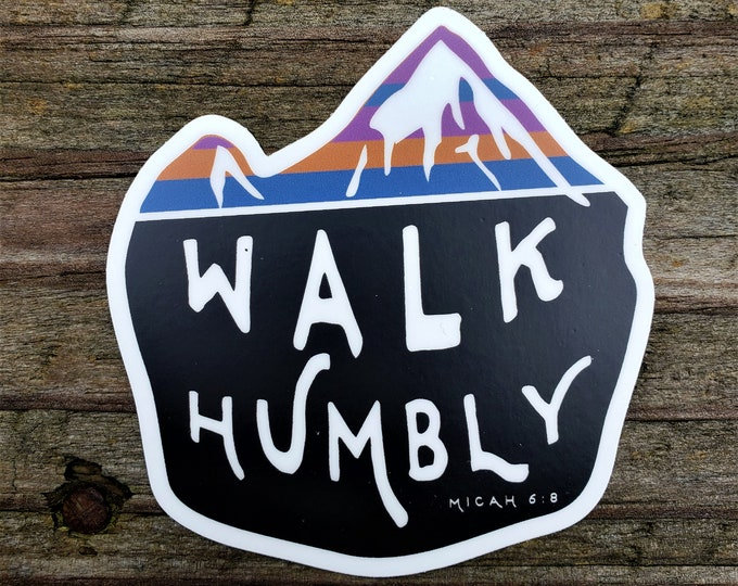 Walk Humbly Mountain Sticker - Micah 6:8
