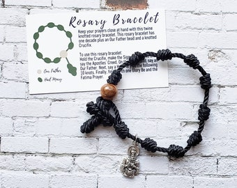 Rosary Bracelets with charm- solid color twine knotted