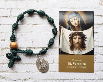 Saint Veronica Rosary Bracelet - with medal