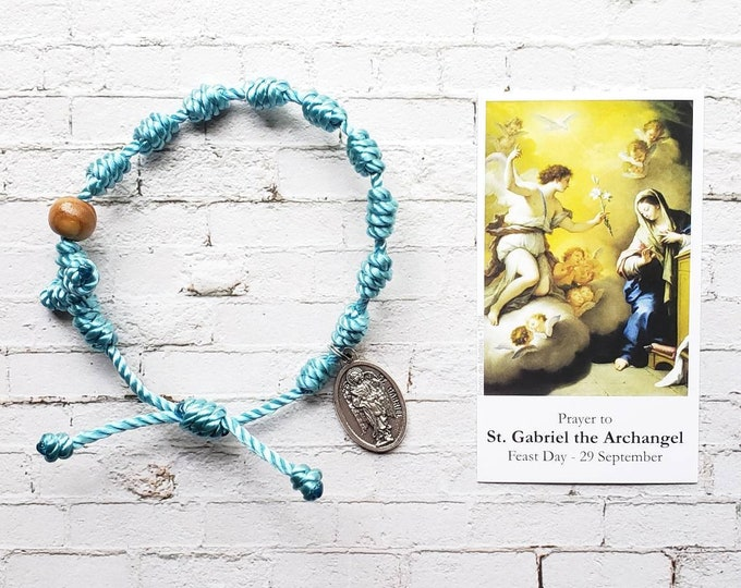 St. Gabriel the Archangel Twine Knotted Rosary Bracelet - with medal & prayer card