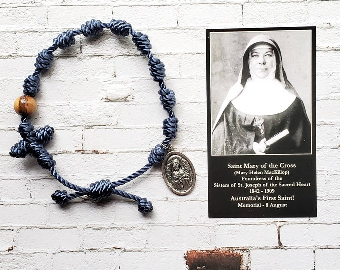 St. Mary MacKillop Twine Knotted Rosary Bracelet - with medal, prayer card, and sticker