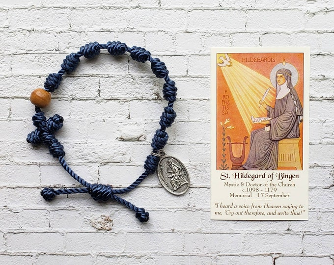 Saint Hildegard Twine Knotted Rosary Bracelet - with medal & prayer card