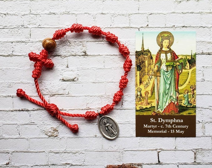 Saint Dymphna Rosary Bracelet - with medal