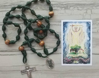 St. Michael the Archangel Twine Knotted Rosary with medal and prayer card