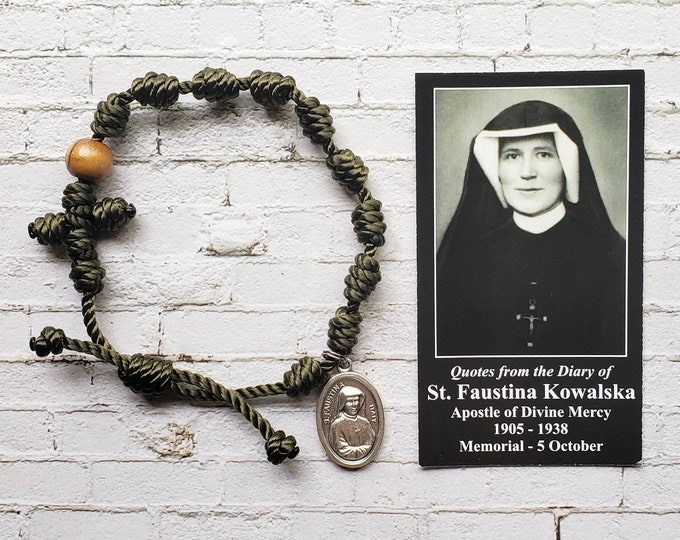Saint Faustina Twine Knotted Rosary Bracelet - with medal & prayer card