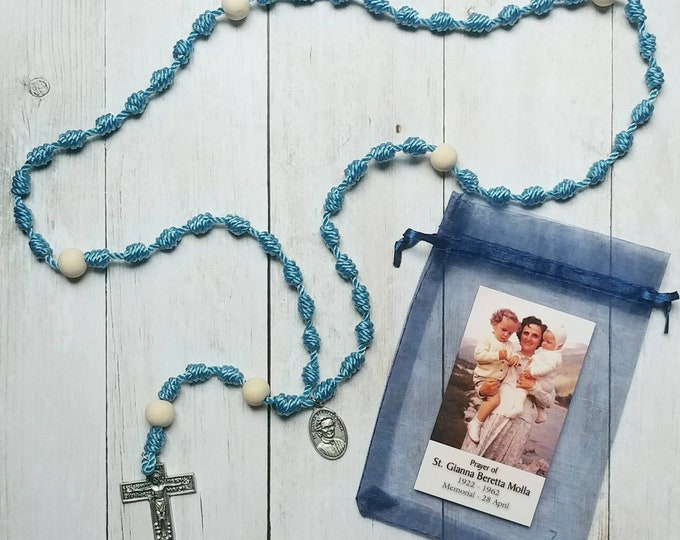 St. Gianna Beretta Molla Twine Knotted Rosary with medal and prayer card
