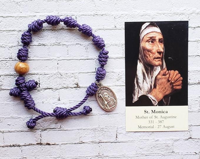 Saint Monica Rosary Bracelet - with medal