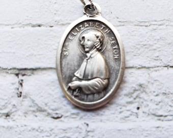 Saint Elizabeth Ann Seton Saint medal with prayer card Silver Oxidized 1 inch Metal Made in Italy
