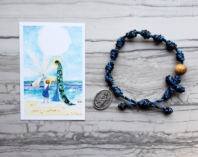 Stella Maris Star of the Sea Rosary Bracelet - with medal and prayer card