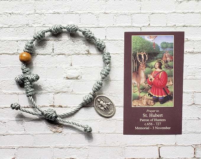 St. Hubert Twine Knotted Rosary Bracelet - with medal & prayer card