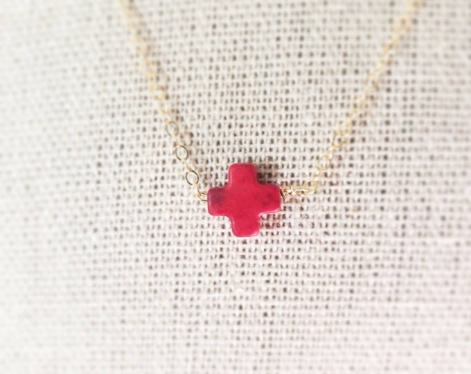 Handmade delicate 14kt gold filled 16 inch chain with red 8mm howlite cross