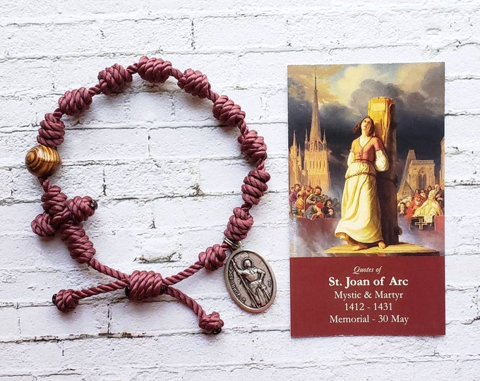 Saint Joan of Arc Twine Knotted Rosary Bracelet - with medal & prayer card