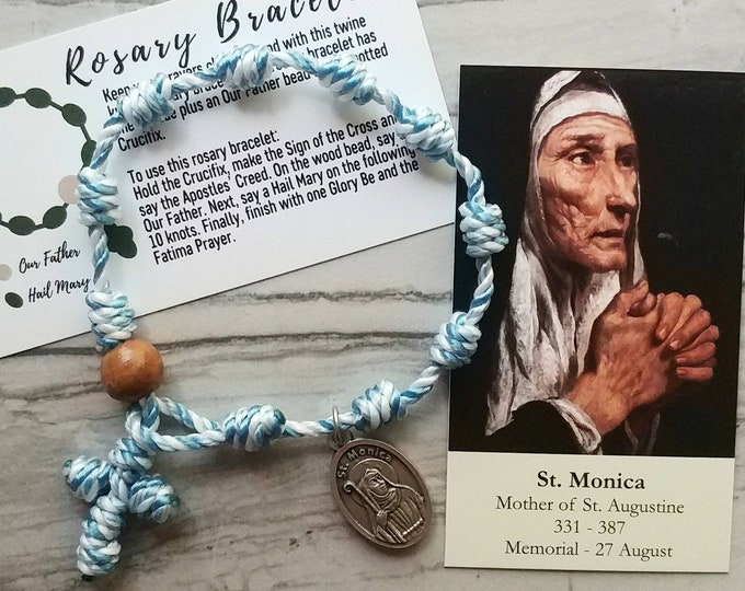 Saint Monica Rosary Bracelet - with medal