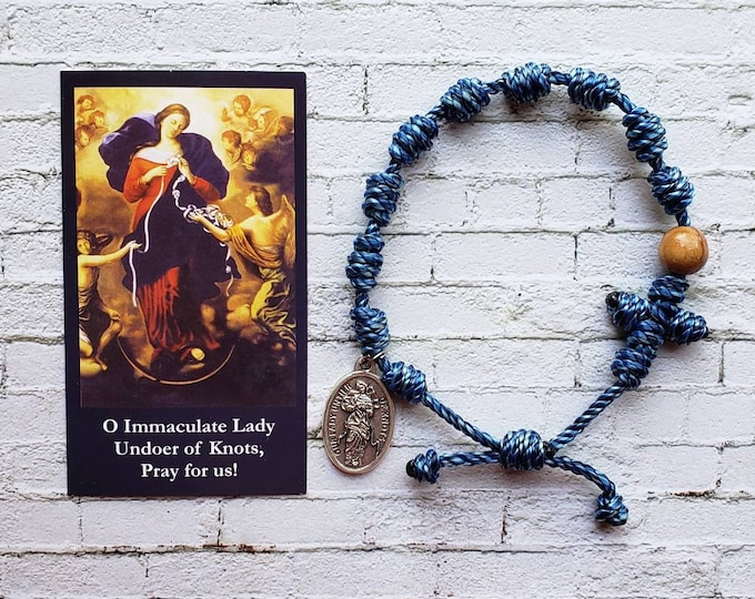 Our Lady Undoer of Knots Twine Knotted Rosary Bracelet - with medal & prayer card