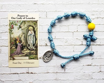 Our Lady of Lourdes Twine Knotted Rosary Bracelet - with medal & prayer card