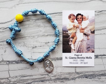 Saint Gianna Twine Knotted Rosary Bracelet - with medal & prayer card