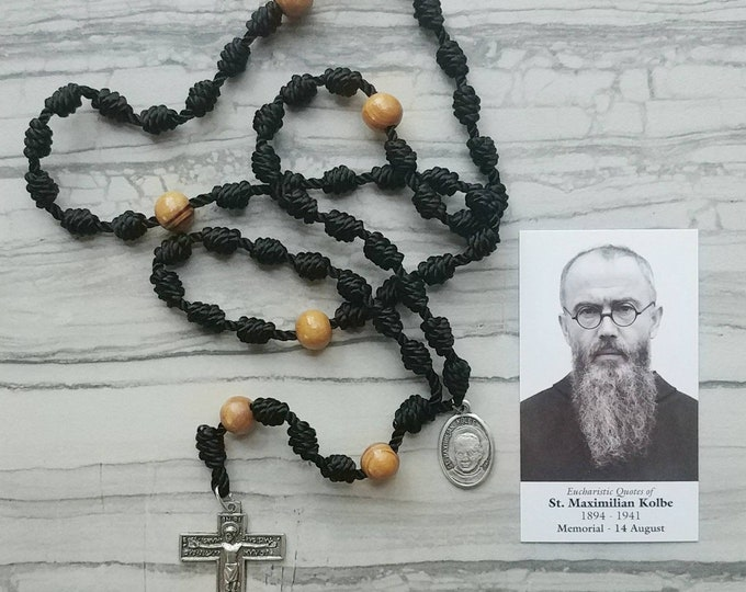 St. Maximilian Kolbe Twine Knotted Rosary with medal and prayer card
