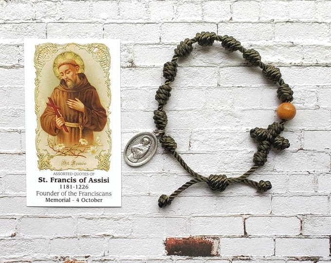 Saint Francis of Assisi Twine Knotted Rosary Bracelet - with medal & prayer card
