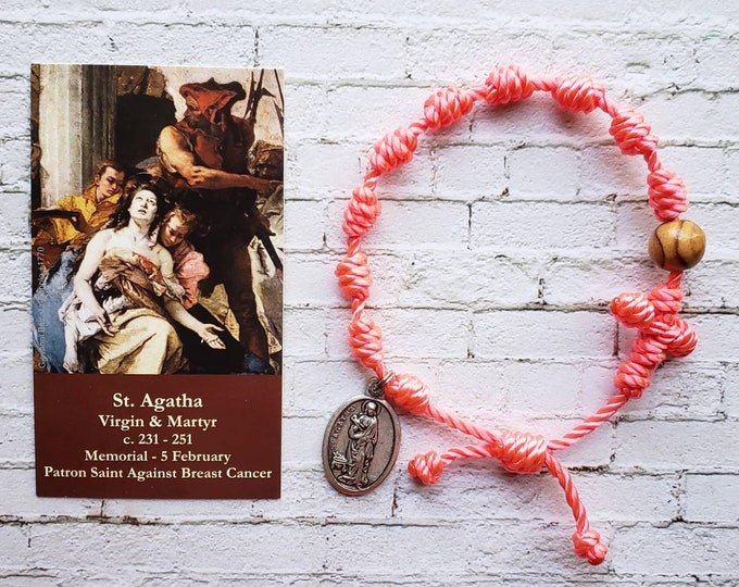 Saint Agatha Twine Knotted Rosary Bracelet - with medal & prayer card