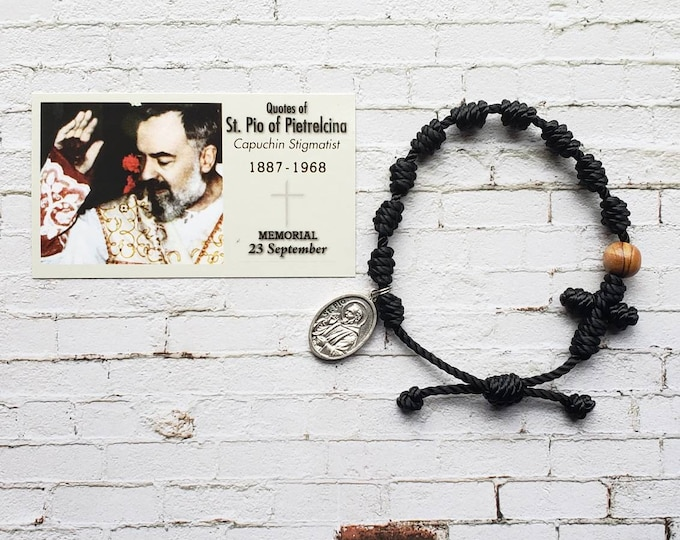 Padre Pio Twine Knotted Rosary Bracelet - with medal & prayer card