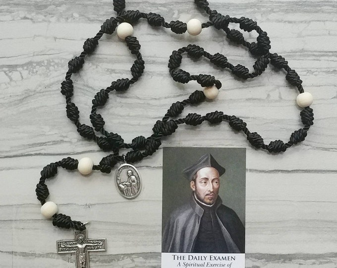 St. Ignatius of Loyola Twine Knotted Rosary with medal and prayer card