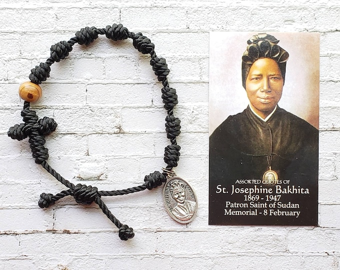 Saint Josephine Bakhita Twine Knotted Rosary Bracelet - with medal & prayer card
