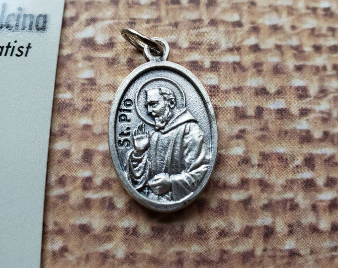 St. Padre Pio Saint medal and prayer card Silver Oxidized 1 inch Metal Made in Italy