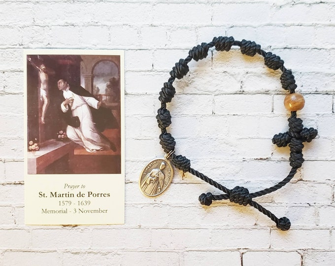 Saint Martin de Porres Twine Knotted Rosary Bracelet - with medal & prayer card