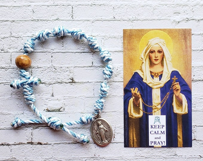 Hail Mary Twine Knotted Rosary Bracelet - with medal & prayer card