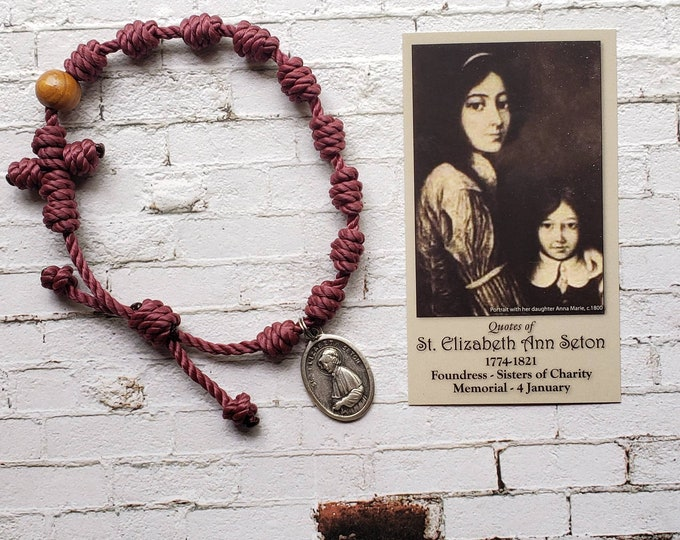 St. Elizabeth Ann Seton Twine Knotted Rosary Bracelet - with medal & prayer card