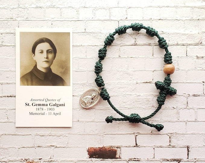 Saint Gemma Galgani Twine Knotted Rosary Bracelet - with medal & prayer card