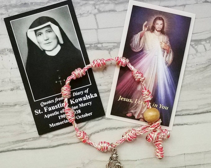 Divine Mercy St. Faustina Rosary Bracelet - with charm