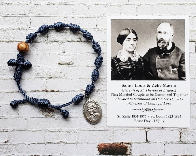 Saints Louis and Zelie Martin Rosary Bracelet - with medal and prayer card