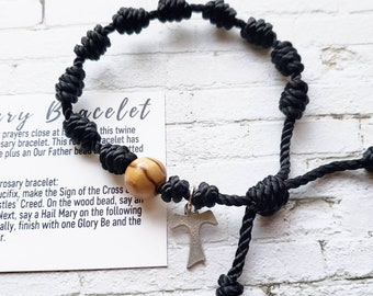 Rosary Bracelets with cross- solid color twine knotted