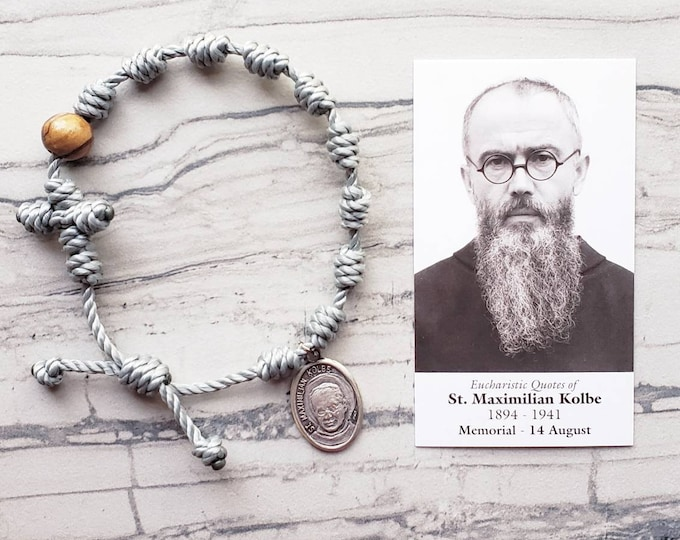 Saint Maximilian Kolbe Twine Knotted Rosary Bracelet - with medal & prayer card