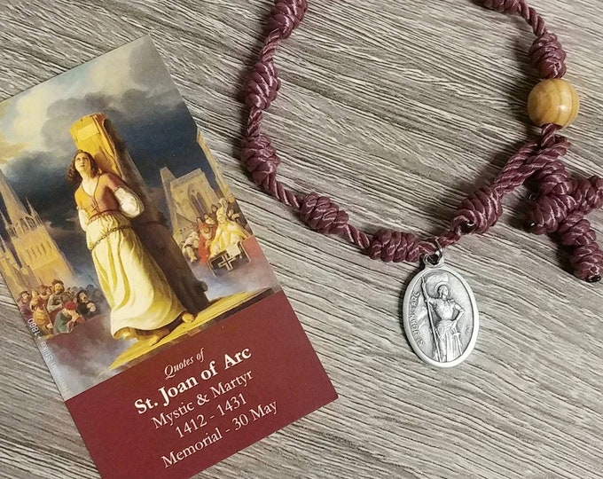 St. Joan of Arc Rosary Bracelet - with medal