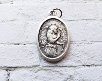 Saint Gabriel Archangel Saint medal with prayer card Silver Oxidized 1 inch Metal Made in Italy