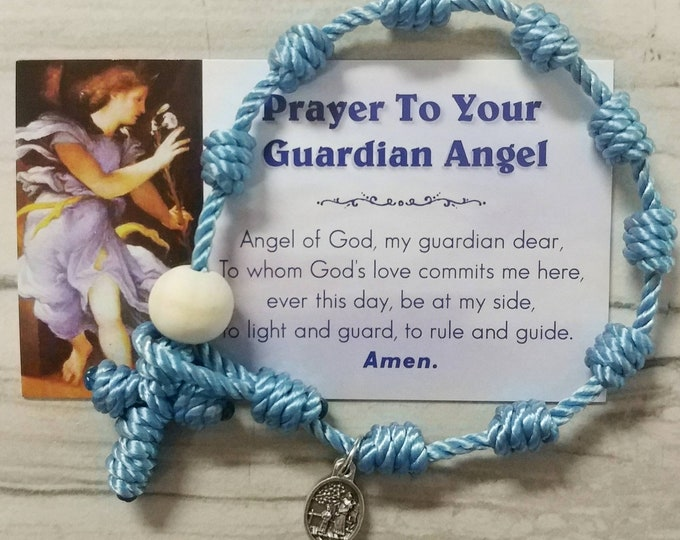 Guardian Angel Rosary Bracelet - with mini medal