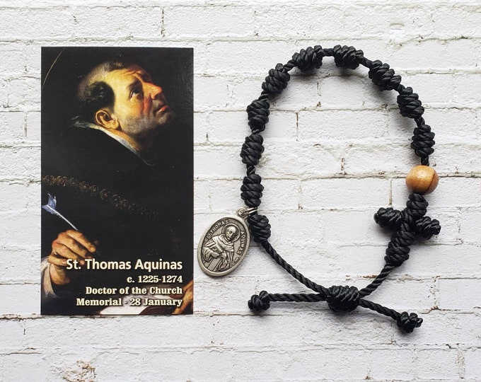 Saint Thomas Aquinas Twine Knotted Rosary Bracelet - with medal & prayer card