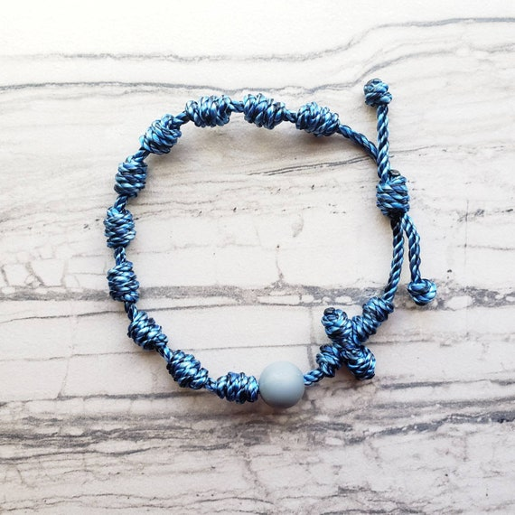 Wanderer Handmade Waterproof multi-color Twine Knotted Rosary Bracelet with bead