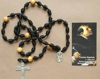 St. Thomas Aquinas - Twine Knotted Rosary with renaissance crucifix,  medal, and prayer card