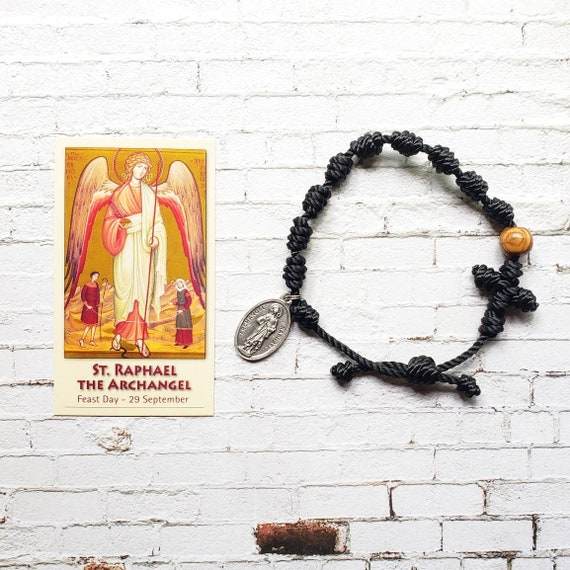 Saint Raphael Twine Knotted Rosary Bracelet - with medal & prayer card