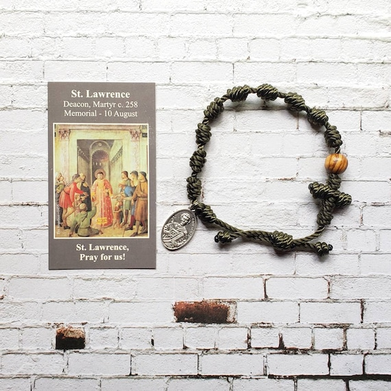 Saint Lawrence Twine Knotted Rosary Bracelet - with medal & prayer card