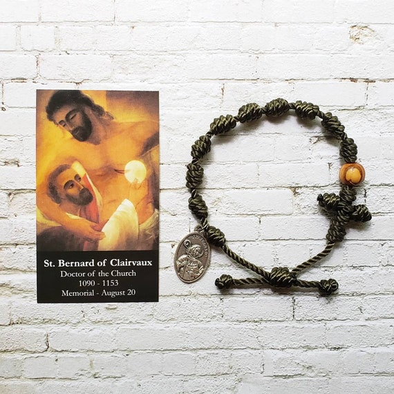 Saint Bernard of Clairvaux Twine Knotted Rosary Bracelet - with medal & prayer card