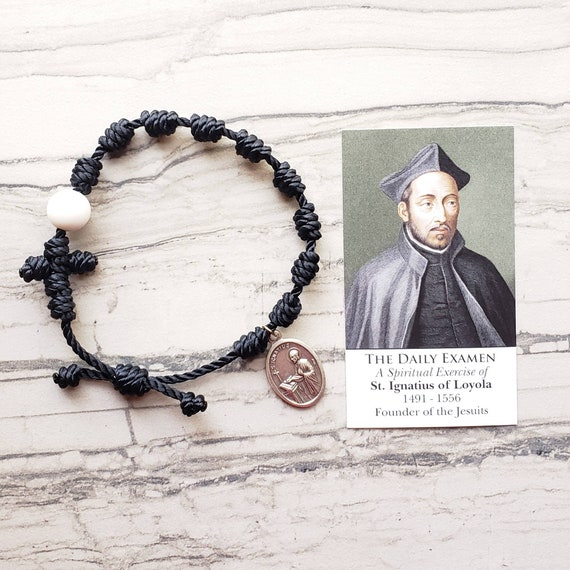Saint Ignatius of Loyola Twine Knotted Rosary Bracelet - with medal & prayer card
