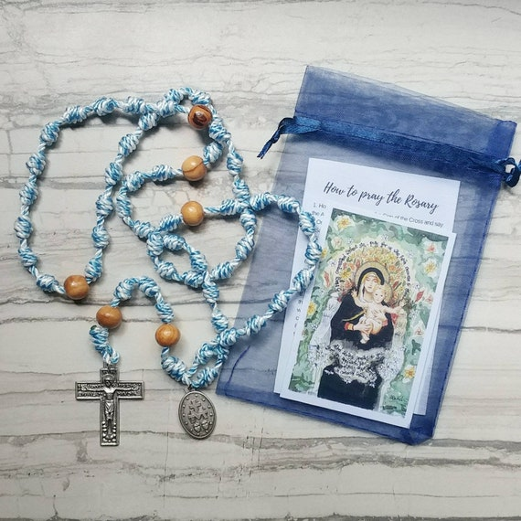 Hail Mary Twine Knotted Rosary with renaissance crucifix, miraculous medal, and prayer card