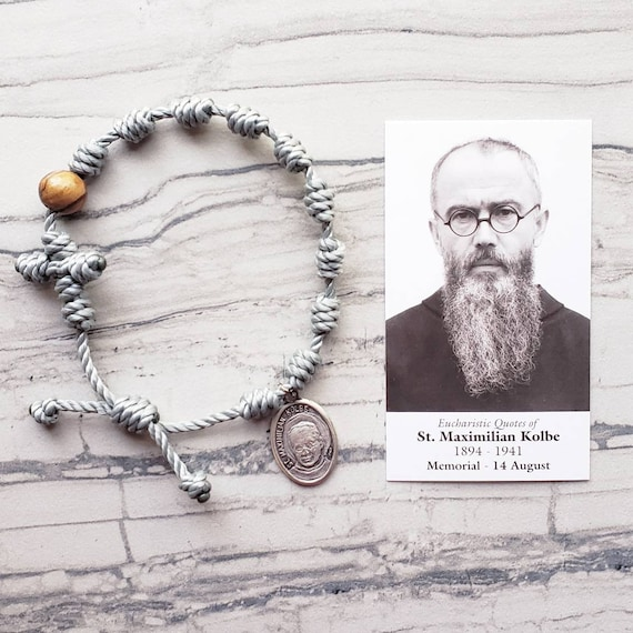 Saint Maximilian Kolbe Twine Knotted Rosary Bracelet - with medal & prayer card